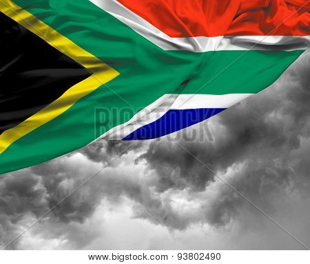 South Africa waving flag on a bad day