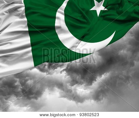 Pakistani waving flag on a bad day