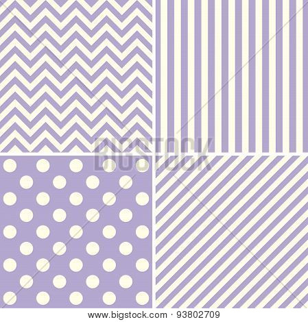 Set Of Four Flower With Dot Pattern Background Vector