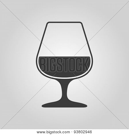 The Glass With Brandy Icon. Brandy Symbol. Flat