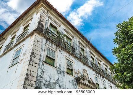 Abandoned house in the historic center of Salvador, Bahia in Brazil