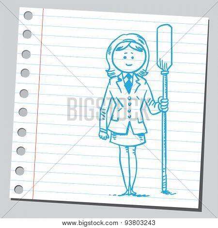 Businesswoman with oar