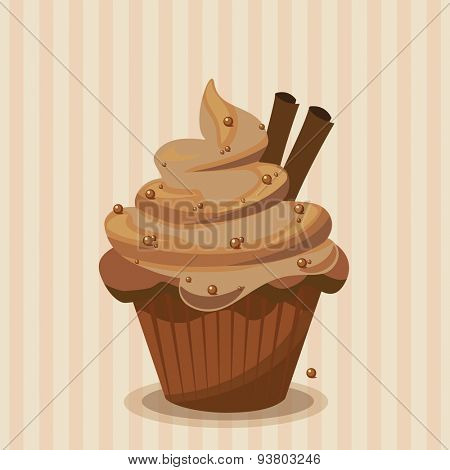Cute vector chocolate cupcake