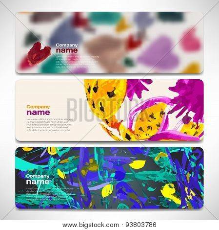 Vector Template Banners With Digital Technology And Internet Abs