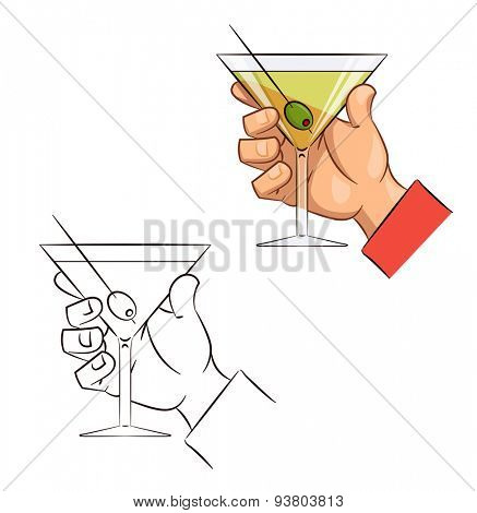 Glass of martini with olive in hand. Eps10 vector illustration. Isolated on white background