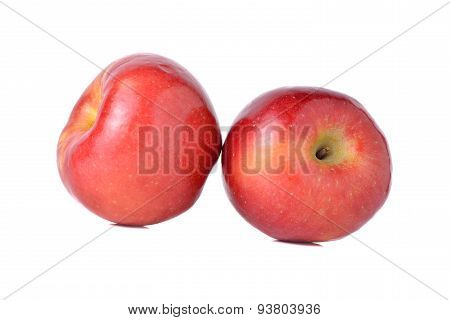Red Apples With Stem On White Background
