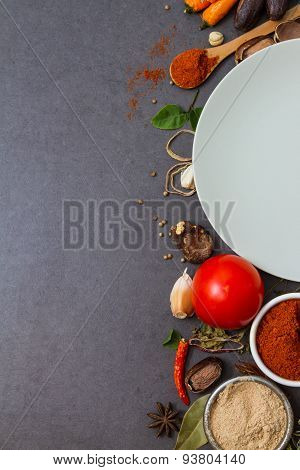 Many spices and herbs selection background.