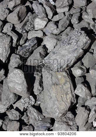 Heap Of Large And Black Coal Lumps Prepared For Winter