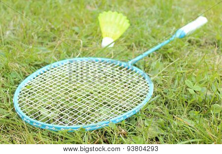 Closeup Of Badminton Racket On Grass In Summer Park