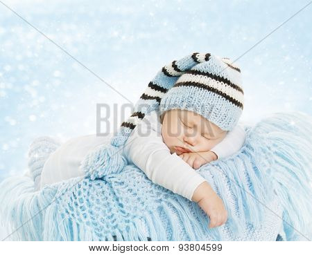 Baby New Born Hat Costume, Newborn Kid Sleeping, Infant Dream On Blue Blanket