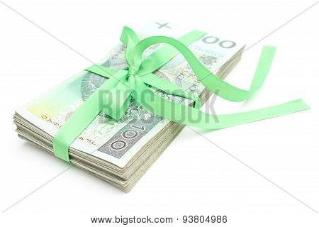 Pile Of Banknotes With Green Ribbon, Isolated On White Background