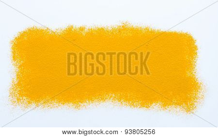 Turmeric spices on white texture background for decorate project.