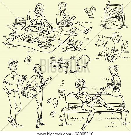 Picknic - hand drawn vector