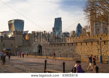 LONDON, UK - APRIL15, 2015: Tower of London at sunset lights