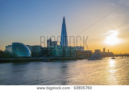 LONDON, UK - APRIL15, 2015: Shard of glass. City of London, south bank of river Thames