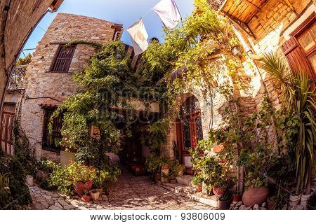Cozy courtyard in Lefkara (Pano Lefkara) village. Limassol District Cyprus