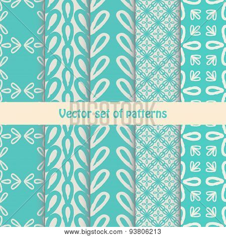 Pretty pastel vector seamless patterns .Set of abstract cute ornaments.