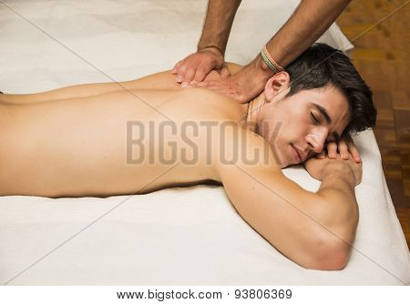 Young Man Getting Back Massage