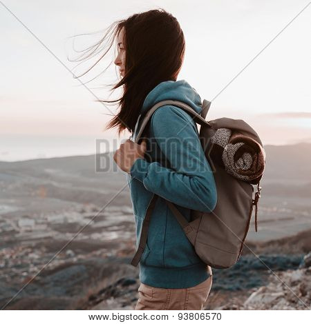 Hiker Young Woman Standing Outdoor