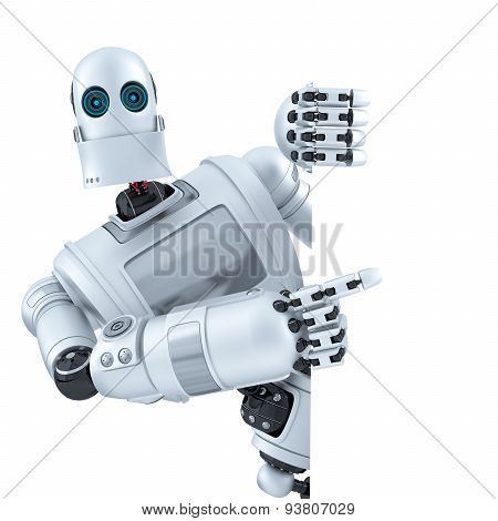 Robot Pointing On Banner. Isolated. Contains Clipping Path