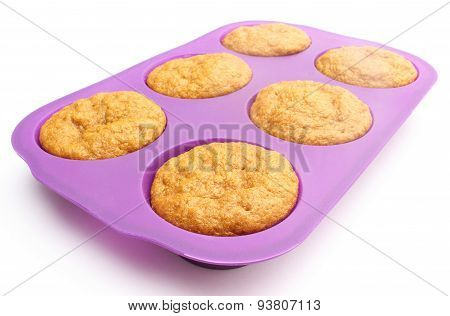 Fresh Baked Carrot Muffins In Silicone Mold