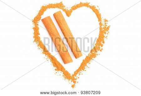 Heart Of Orange Cinnamon Isolated On White Background