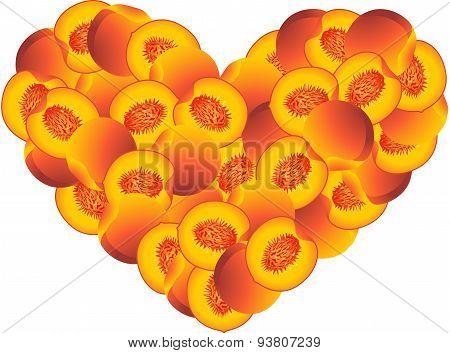 Peach heart shaped
