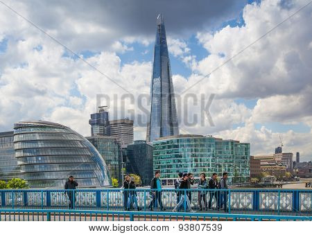 LONDON, UK - APRIL 30, 2015: City of London business aria view from the Tower Bridge. Shard and Lond