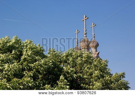 Wooden Dome Of The Church Out From Behind Trees