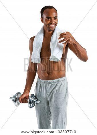 American Sportsman Drinking Fresh Milk After Training / Photo Set Of Sporty Muscular Hispanic Shirtl