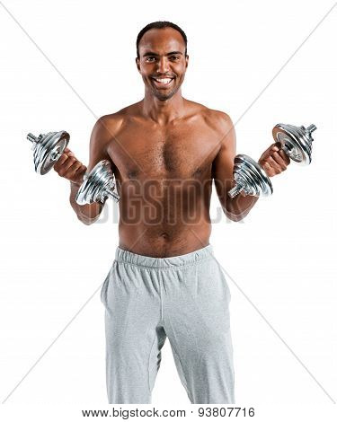 Muscular Man Doing Exercises With Dumbbell Training Biceps