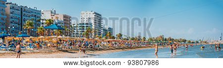 Larnaca, Cyprus - 20 August 2014: People On The Sunny Beach Of Larnaca