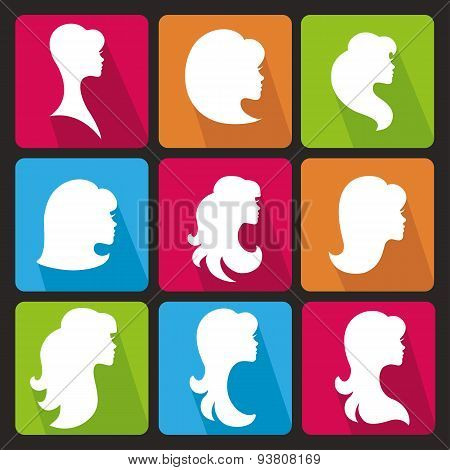 Girl face silhouette.Profiles Hair style.Icons set