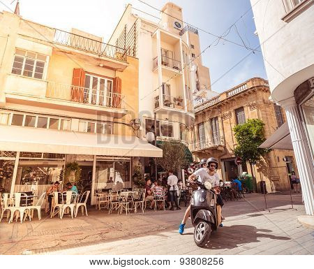 Nicosia, Cyprus - May 29:  People Enjoying A Summer In Cafes At Onasagorou Street In Central Nicosia