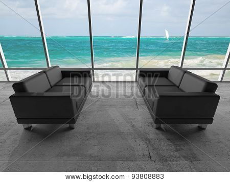Two Black Sofas, 3D With Ocean Coastal Landscape