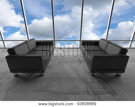 Window With Clouds And Black Leather Sofas. 3 D