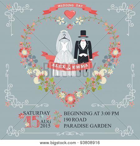 Cute wedding invitation.Retro wear, floral wreath