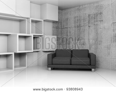 Decoration On The Wall And Black Leather Sofa, 3D
