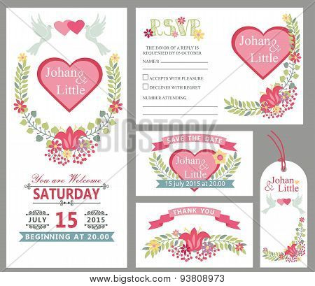 Cute wedding card design template set.Floral decor