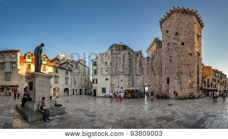 Panorama Of Trg Brace Radic Is A Medieval Square, With A Beautiful Medieval Tower, The Palace Milesi