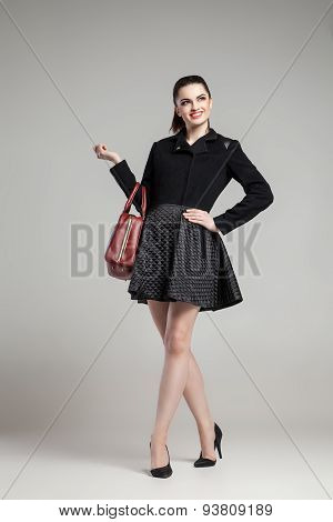 Elegant glamour woman wearing black skirt and blouse