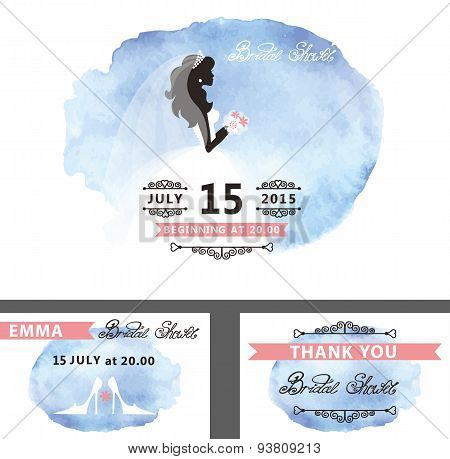 Bridal shower template set.Bride,watercolor cyan stain