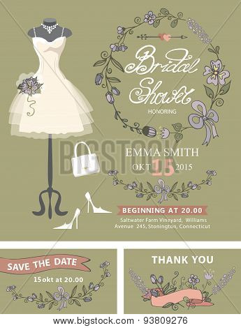 Bridal shower invitation set .Bridal dress,floral decor