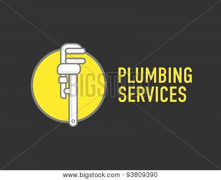 Plumbing Repair Wrench Line Flat Icon. Logo Concept For Plumbers