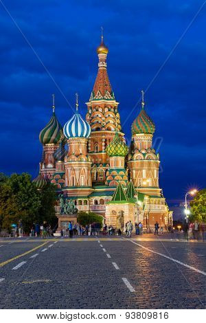 Saint Basil's Cathedral on the Red Square at dusk