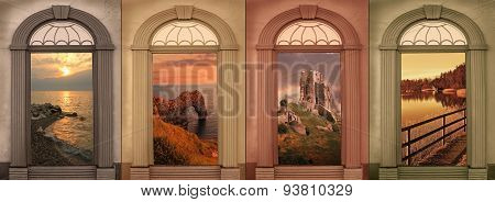 Background Design Four Seasons In Soft Browns