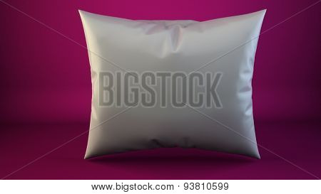 aclose up of a white pillow on pink 3d render
