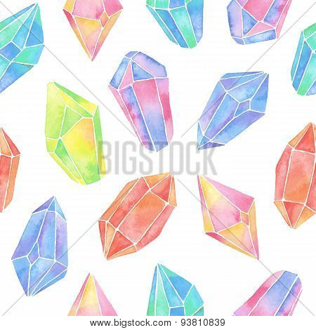 Watercolor gem seamless pattern