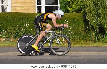 Male Triathlete on cycling stage.