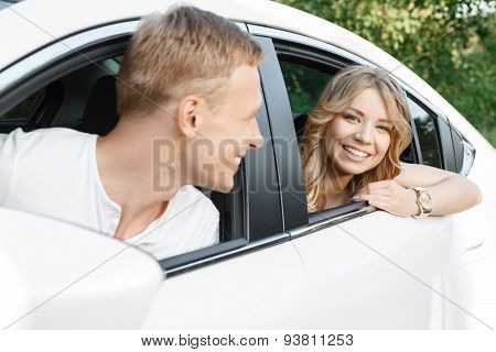 Young couple in the car